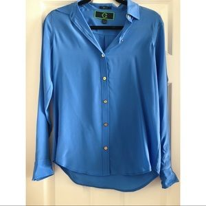 C Wonder Blue Button Down Silk Shirt Size XS